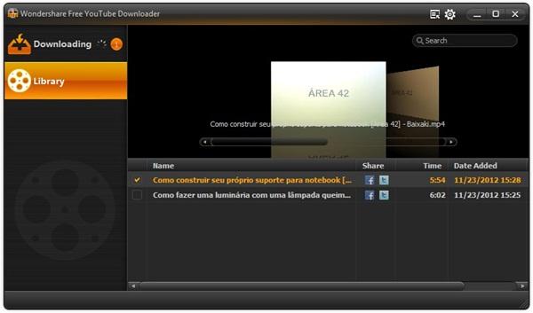 Wondershare Free YouTube Downloader.