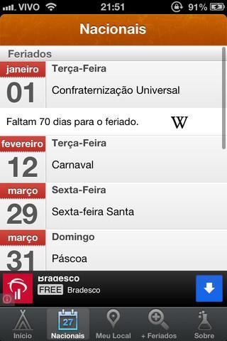 Feriados 2013 - Imagem 2 do software