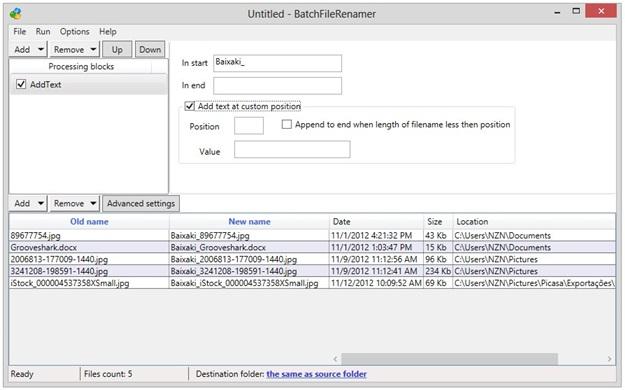 BatchFileRenamer - Imagem 1 do software