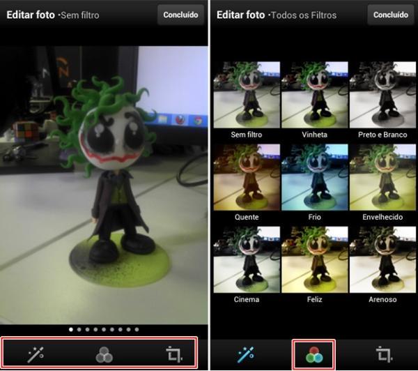 Aplicando filtros ou fazendo edições
