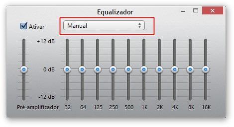 Caixa de seleção contendo pré-configurações