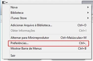 Abrindo as preferências do iTunes