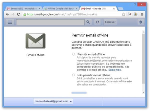 Usando o Offline Google Mail