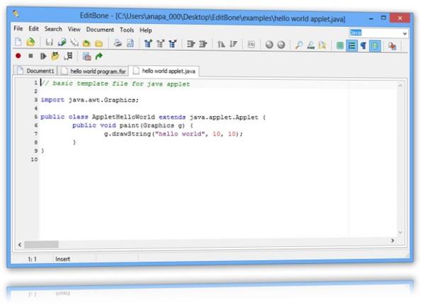 Interface do editor