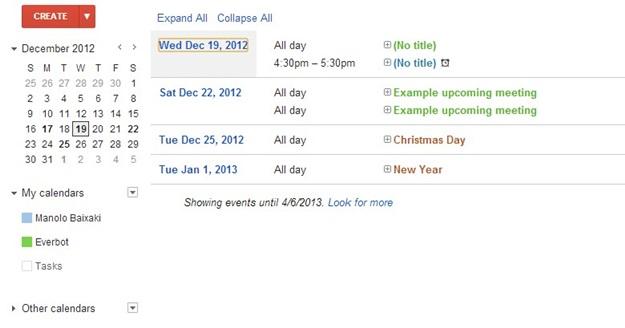 No detalhe: os calendários
