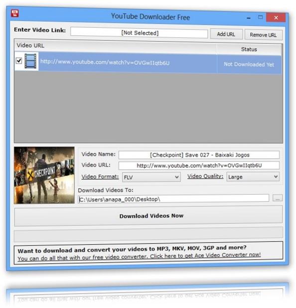 Adicionando vídeo para o download