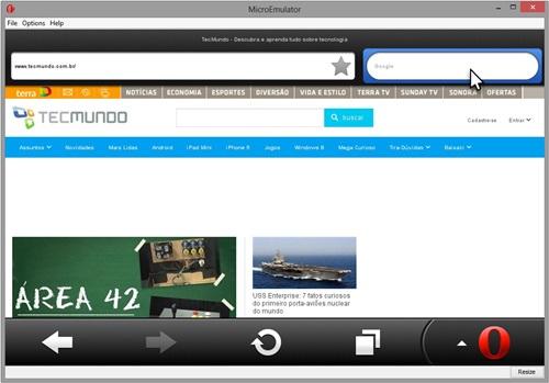Um site aberto no Opera Mini.