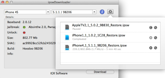 ipswDownloader - Imagem 2 do software