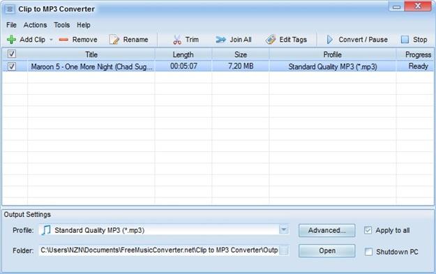 Clip to MP3 Converter - Imagem 1 do software