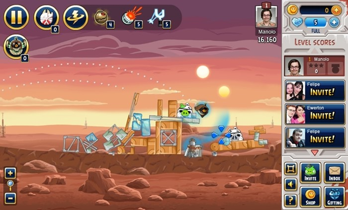 Angry Birds Star Wars no Facebook