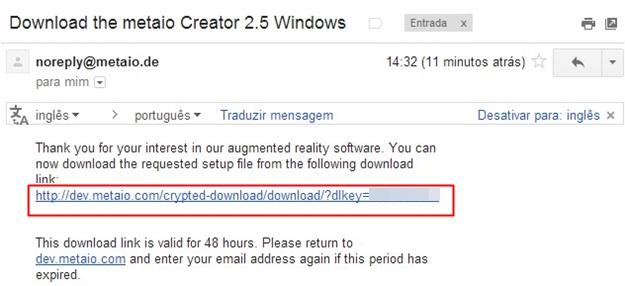 Link enviado para o email