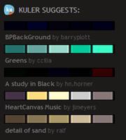 Sugestões do Adobe Kuler e COLORSlovers