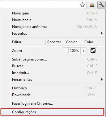 Abrindo as configurações do navegador