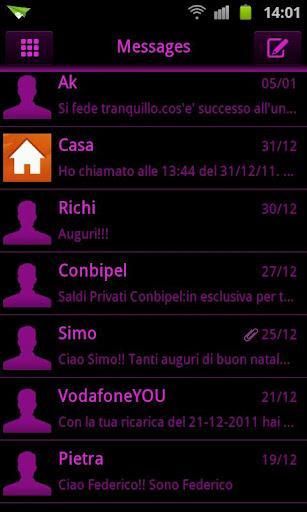 GO SMS Pink Black Neon Theme - Imagem 1 do software