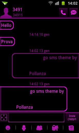 GO SMS Pink Black Neon Theme - Imagem 2 do software