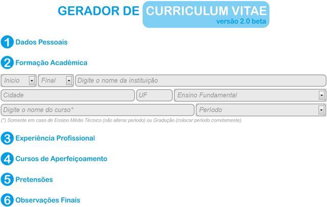 gerador de currículo - curriculum vitae generator 2.0