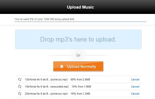 Upload de músicas