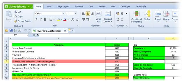 Kingsoft Spreadsheets Professional 2012 - Imagem 3 do software