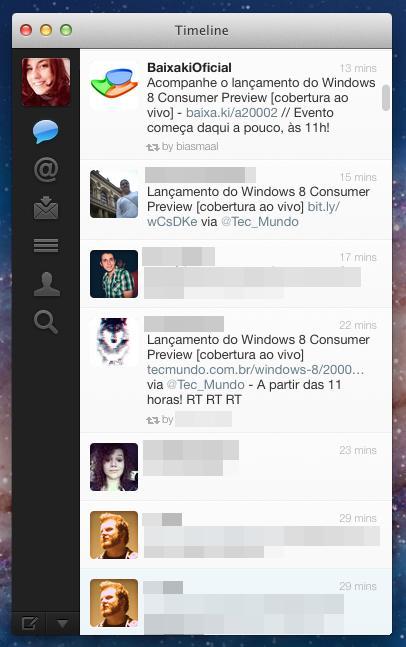 Interface do cliente do Twitter para o Mac