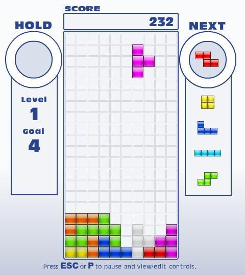 Jogo mostra uma sequência de próximas peças