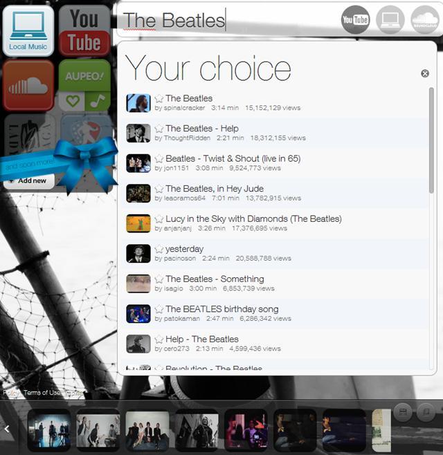 Busque músicas em diferentes serviços online