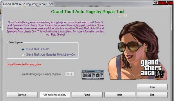 Grand Theft Auto Registry Repair Tool - Imagem 1 do software