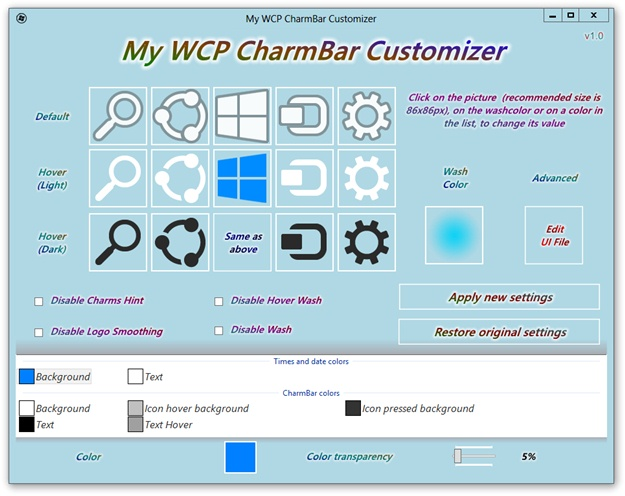 My WCP CharmBar Customizer - Imagem 2 do software