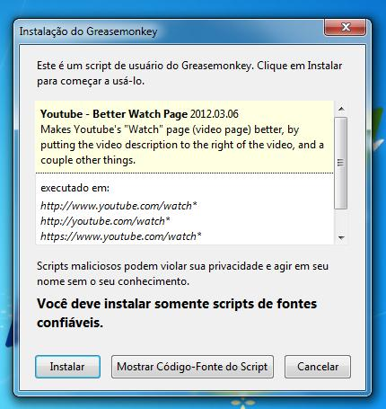 Exemplo de script sendo instalado