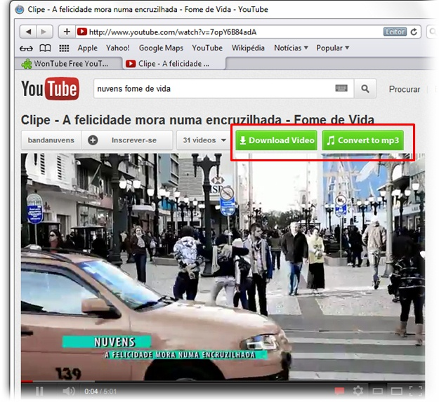 WonTube Free YouTube to MP3/MP4/FLV para Safari - Imagem 3 do software