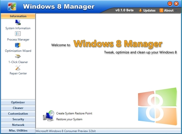Windows 8 Manager.