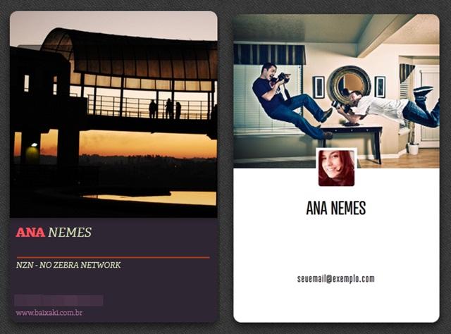Exemplos de cartões criados com o CardFlick