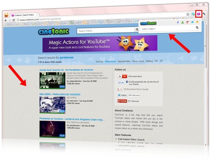 Busque diretamente pela tela do navegador