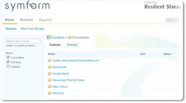 Symform - Imagem 1 do software