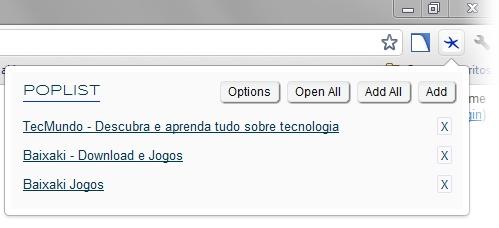 PopList For Google Chrome