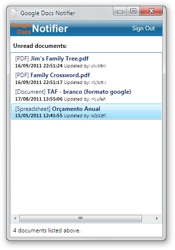 Google Docs Notifier - Imagem 1 do software