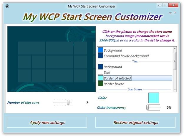 Start Screen Customizer - Imagem 2 do software