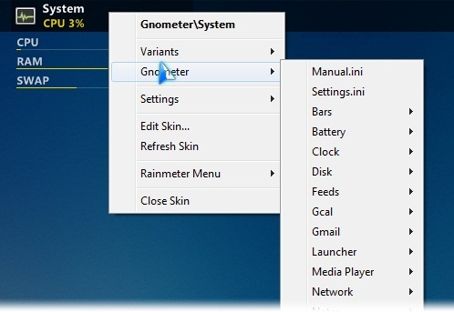 Abra o menu para mais opções de widgets