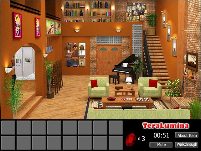 A tela principal do jogo é a casa onde você está.