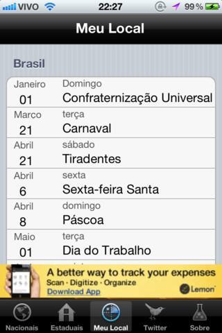 Feriados 2012 - Imagem 3 do software