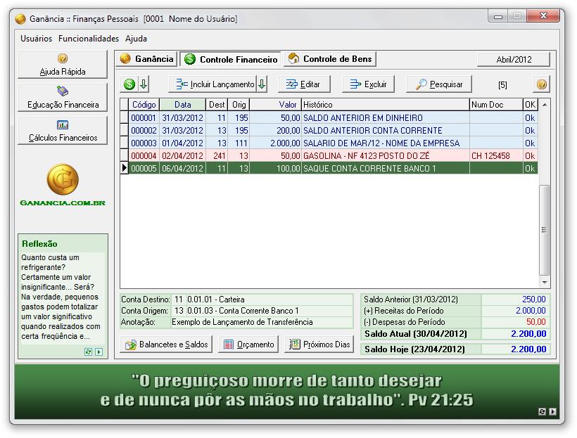 Ganância Finanças Pessoais - Imagem 1 do software