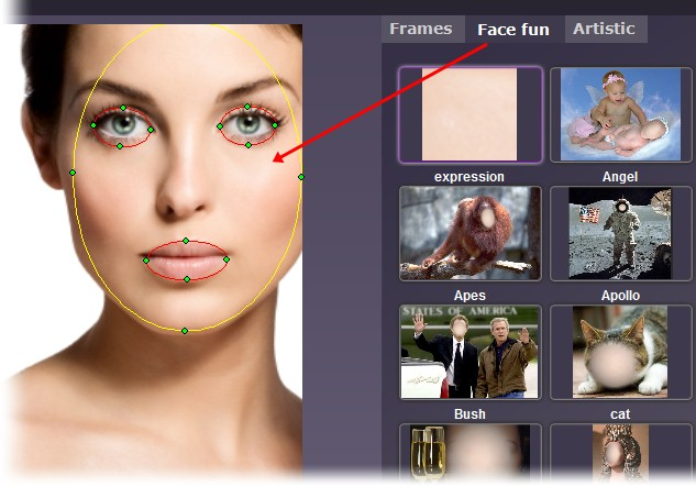 Arrume as marcações no rosto