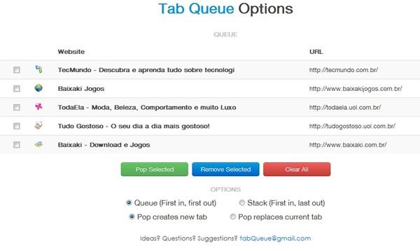 As opções listam os sites salvos pela extensão.