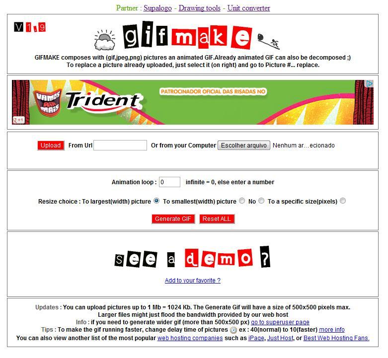 Escolha uma URL ou um arquivo do seu PC