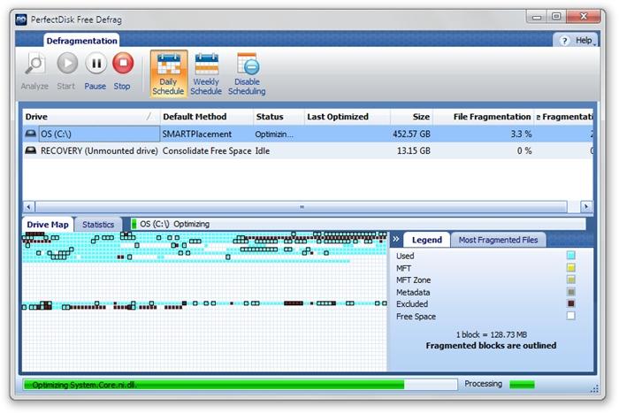 PerfectDisk Free Defrag - Imagem 1 do software