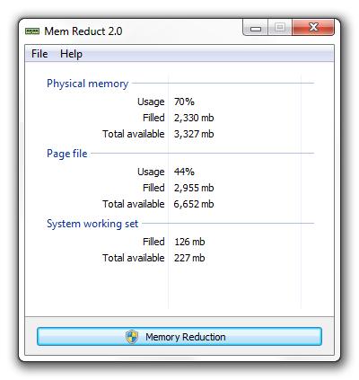 Mem Reduct - Imagem 2 do software