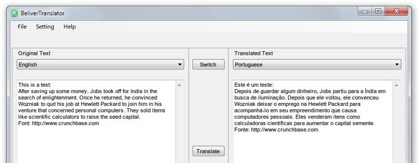 BeliverTranslator - Imagem 1 do software