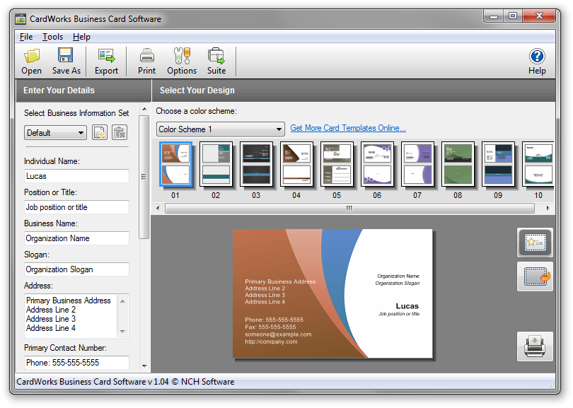 Cardworks free business card software download reheart Choice Image