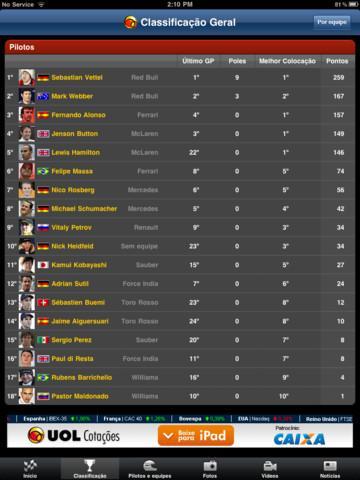 UOL Fórmula 1 - Imagem 2 do software
