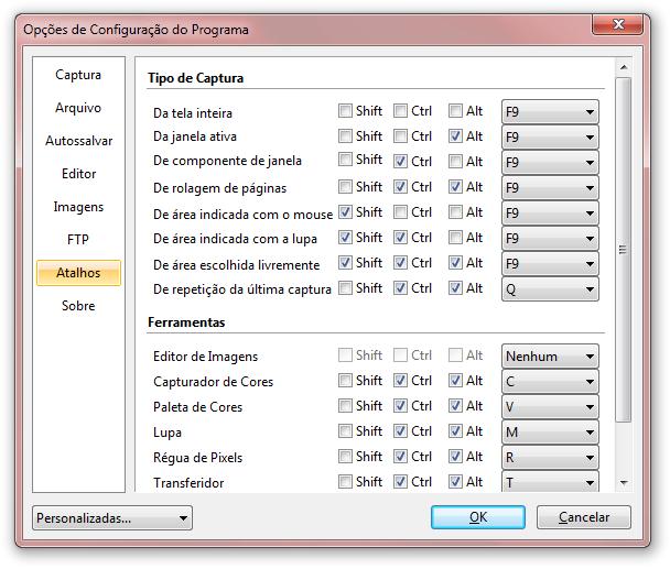 Configure atalhos para as capturas de tela
