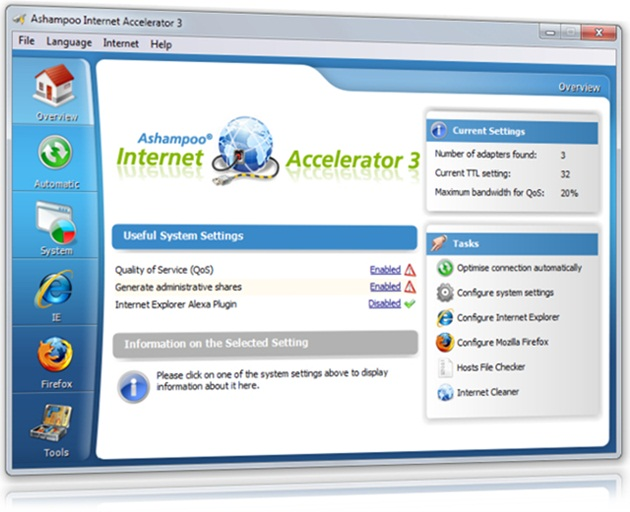 Ashampoo Internet Accelerator - Imagem 1 do software